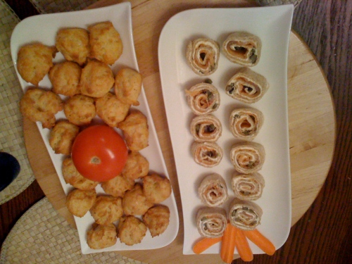Gougeres and salmon rolls
